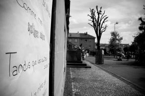 Illsutration noir et blanc d'une intervention de rue