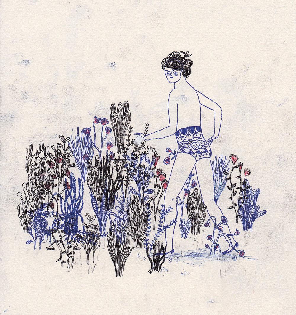 "Sophie Lecuyer - illustratrice. Gravure ""Au jardin""."