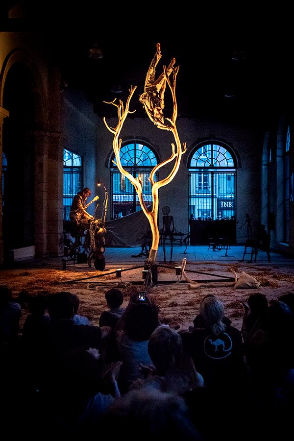 """Cie Courcirkoui - spectacle """"Chemins..."""". Musique et Acrobatie sur un squelette d'arbre"""